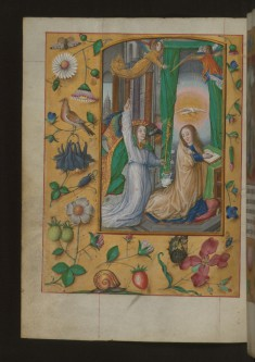 Leaf from Aussem Hours: Hours for the Virgin, Annunciation with Flowers and Insects in Margins