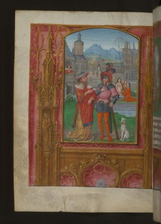 Leaf from Aussem Hours: Seven Penitenial Psalms, David Sees Bathsheba Bathing and Illusionistic Architecture in Margins