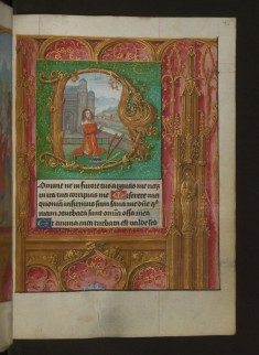 Leaf from Aussem Hours: Seven Penitential Psalms, David Kneeling and Illusionistic Architecture in Margins