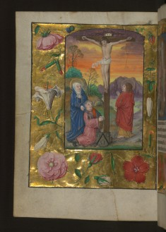 Leaf from Aussem Hours: Hours of the Cross, Crucifixion with Mary, John, and a Donor with Aussem Coat of Arms