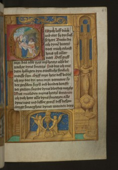 Leaf from Aussem Hours: Prayers of the Sufferings of Christ, Entombment with Illusionistic Architecture in Margins