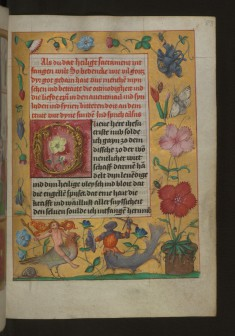 "Leaf from Aussem Hours: Prayer of the Sacred Sacrament, Foliate Initial ""O"" with Flowers and Hybrid Creatures in Margins"