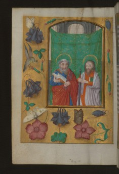 Leaf from Aussem Horus: Prayer to Saint Peter, Saints Peter and Paul with Marginal Flowers and Insects
