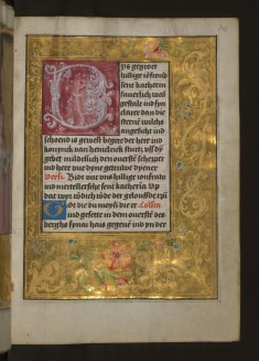 "Leaf from Aussem Hours: Prayer to St. Catherine, Foliate Initial ""B"" with Gold and Floral Marginal Decoration"
