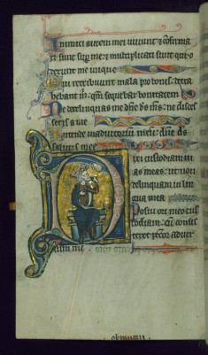 Leaf from Psalter: Psalm 38, Initial D with David Pointing to Mouth before the Face of God