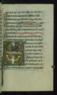 Leaf from Psalter: Psalm 68, Initial S with David in Water Below Christ
