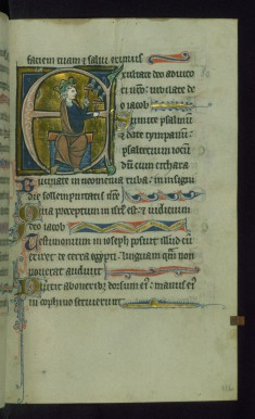 Leaf from Psalter: Psalm 80, Initial E with David Playing Bells
