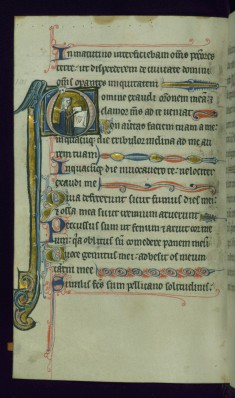 Leaf from Psalter: Psalm 101, Initial D with Kneeling Female Supplicant