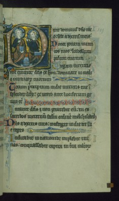 Leaf from Psalter: Psalm 109, Initial D with God the Father and Christ