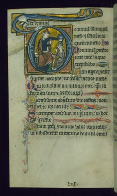 Leaf from Psalter: Psalm 26, Initial D with David Anointed by Samuel