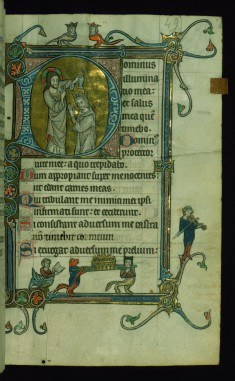 Leaf from Psalter: Psalm 26, Initial D with Christ Anointing David
