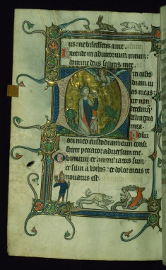 Leaf from Psalter: Psalm 38, Initial D with David Pointing to His Mouth Before God