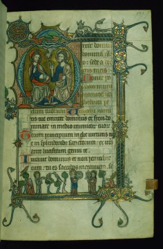 Leaf from Psalter: Psalm 109, Initial D with the Trinity