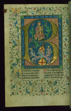 Leaf from Breviary: Psalm 1, Initial B with David Playing the Harp