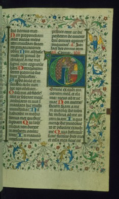 Leaf from Breviary: Psalm 101, Initial D with Godhead above David in Prayer before an Altar
