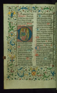 Leaf from Breviary: Psalm 109, Initial D with God Enthroned and Blessing