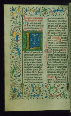 Leaf from Breviary: Pentecost Vigil from Temporale, Initial L with the Holy Spirit as a Dove