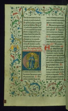 Leaf from Breviary: John the Baptist from Sanctorale, Initial E with John Holding the Lamb