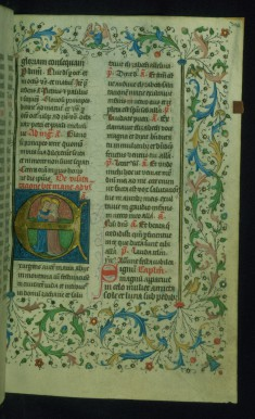 Leaf from Breviary: Visitation from Sanctorale, Initial E