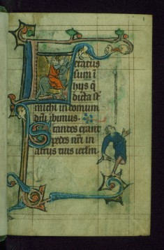 Leaf from Book of Hours: Prime from Hours of the Virgin, Initial L with Balaam Riding a Donkey