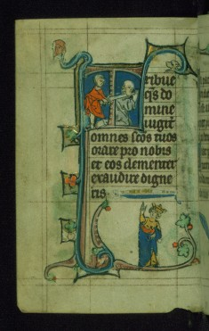 Leaf from Book of Hours: Lauds from Hours of the Virgin, Initial T with Paul Being Beheaded