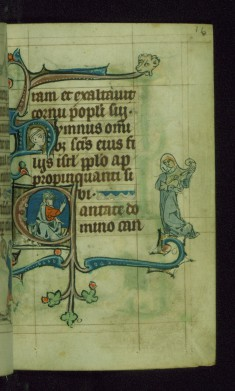 Leaf from Book of Hours: Lauds from Hours of the Virgin, Initial C with Christ Blessing