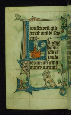 Leaf from Book of Hours: Lauds from Hours of the Virgin, Initial L with Christ Enthroned Holding Globe