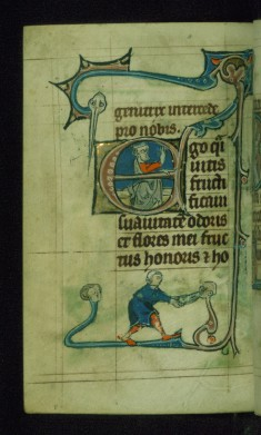 Leaf from Book of Hours: Lauds from Hours of the Virgin, Initial E with King David Blessing