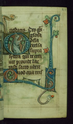 Leaf from Book of Hours: Lauds from Hours of the Virgin, Initial O with Woman Standing Among Trees