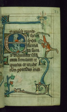 Leaf from Book of Hours: Terce from Hours of the Virgin, Initial E with Seated Woman Holding Book