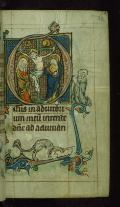 Leaf from Book of Hours: None from Hours of the Virgin, Initial D with Crucifixion and Kneeling Female Patron