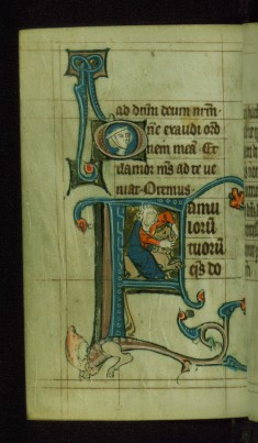 Leaf from Book of Hours: None from Hours of the Virgin, Initial F with Samson Wrestling a Lion