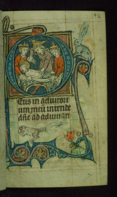 Leaf from Book of Hours: Vespers from Hours of the Virgin, Initial D with the Anointing of Christ's Body Before Entombment