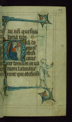 Leaf from Book of Hours: None from Hours of the Virgin, Initial N with a Seated Scribe Writing on a Scroll