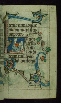 Leaf from Book of Hours: None from Hours of the Virgin, Initial L with John the Evangelist