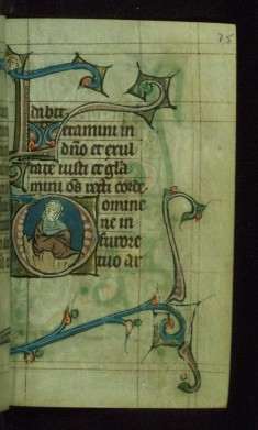 Leaf from Book of Hours: Seven Penitential Psalms, Initial D with a Seated Man