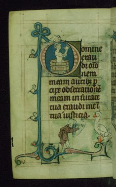 Leaf from Book of Hours: Prime from Hours of the Virgin, Initial D with the Martyrdom of John the Evangelist
